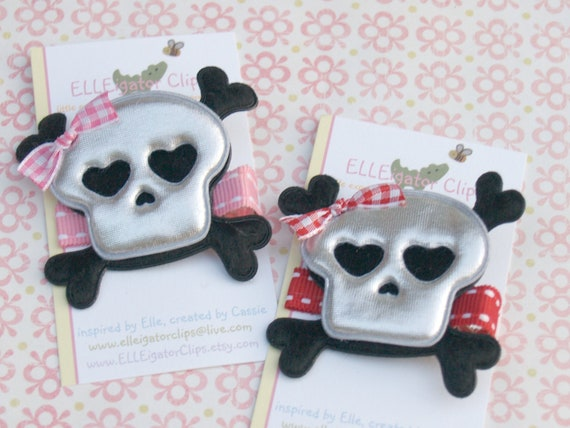Gwen - Skull Rocker Chic Hair Clip - U PICK - Red or Pink / Pirate Costume / Halloween Hair Clips