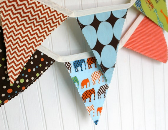 Bunting Banner, Fabric Banner, Fabric Flags, Baby Nursery Decor - Elephants, Giraffes, Zoo, Circus, Chevron - Ready to Ship