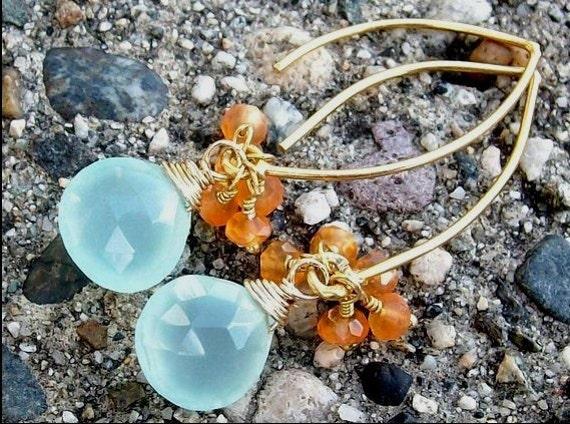 Lorelei Earrings. Chalcedony Gemstones, 14k Vermeil Gold, Aqua Blue and Orange Tropical Elegant Jewelry For Her