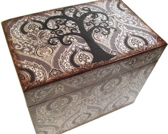 Recipe Box Decoupaged This Tree of Life Box is Large and Handcrafted Holds 4x6 Recipe Cards  MADE To ORDER
