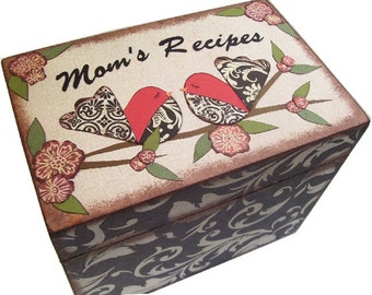 Recipe Box, Decoupaged,  Bird Box, Large Handcrafted Kitchen Storage, Organization Box Holds 4x6 Cards  MADE To ORDER