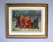 Vintage Framed Dog Picture Cocker Spaniel Print - Best Friends