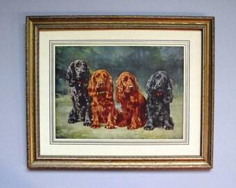 Vintage Framed Dog Picture Cocker Spaniel Print - Best Friends