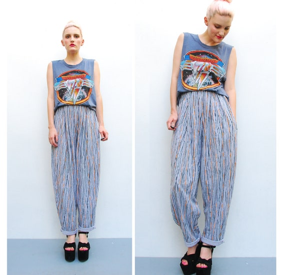 80s 90s Pants - Gray Abstract Graphic Striped High Waist Pants - 1980s Harem Tapered Trouser Pants - S M 4 6 8