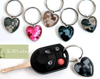 Military Camo Heart Keychain