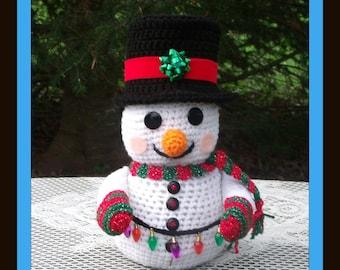 Snowman  Christmas Sock Holder,Garland Or Card Holder  Crochet Pattern