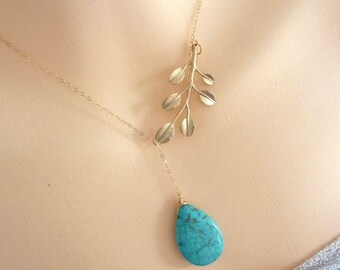 Turquoise 16kt Matt Gold Plated Leaf Branch Lariat Necklace in Gold Filled Chain