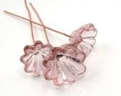 Handmade lampwork glass Bell Flowers  - Amber Rose  -  pink, rose quartz, floral headpins