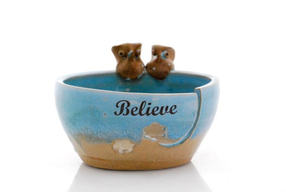 ceramic yarn bowl owl robins egg believe