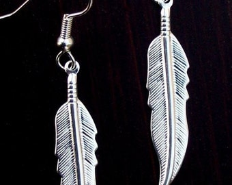 SILVER FEATHER EARRINGS - Larger size