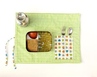 Green placemat, organic  cotton place mat, child  birthday gift in green  gingham eco friendly  fabric