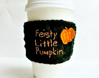 Halloween Travel Mug Coffee Cozy Tea Cosy pumpkin black orange funny cover