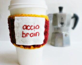 Accio Brain funny travel coffee mug cozy crochet handmade cozy cover cover