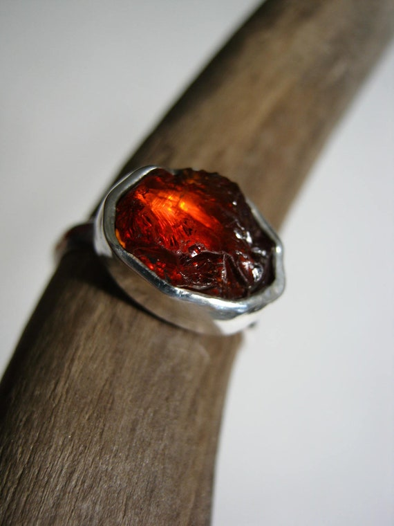 RESERVED - Raw Spessartite Garnet ring - Sterling Silver and fine silver