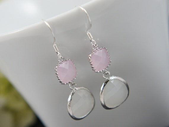 pink white silver earrings - bridal, wedding, gift