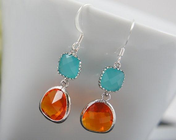 silver blue orange earrings - drop earrings, bridal, wedding, gift, halloween