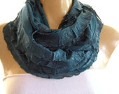 Dark Teal Shimmery Teal ruffle ruffled infinity scarf cowl,Very sophisticated  Flamenco Necklace Scarf-Le dernier cri...