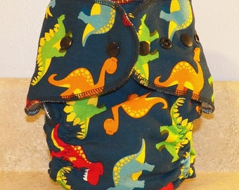 Fitted Medium Cloth Diaper- 10 to 20- Dinos on Dark Blue- 18006