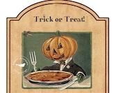 Vintage Halloween Jack O'Lantern Tags Instant Digital Download