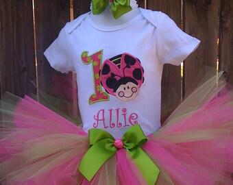 Lime Green & Hot pink Oh so sweet Ladybug Birthday Tutu Set