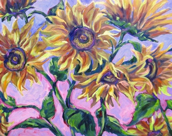 large impasto abstract art, large sunflowers original oil painting, modern flower art, 24 x 36 contemporary canvas art, Janice Trane Jones
