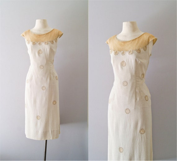 50s dress / 1950s tonal linen and gold mesh dress / Gilded Illusion dress