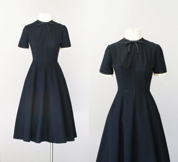 50s dress / 1950s wool party dress / By the Moonlight dress