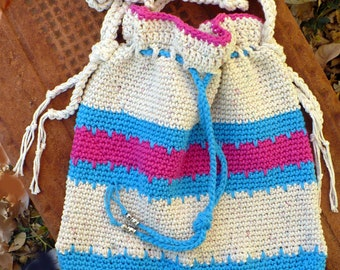 Cotton Striped Drawstring Tote Turqouise Hot Pink Purse