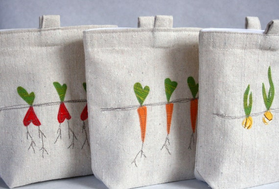 vegetable applique heavy cotton sandwich bags for reuse