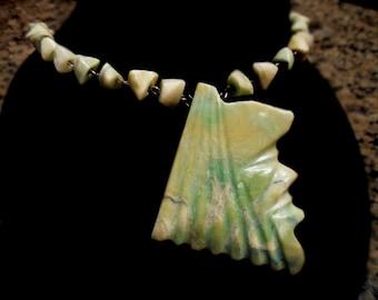 Primitive Carved Face Green Stone Necklace. Vintage Ethnic.
