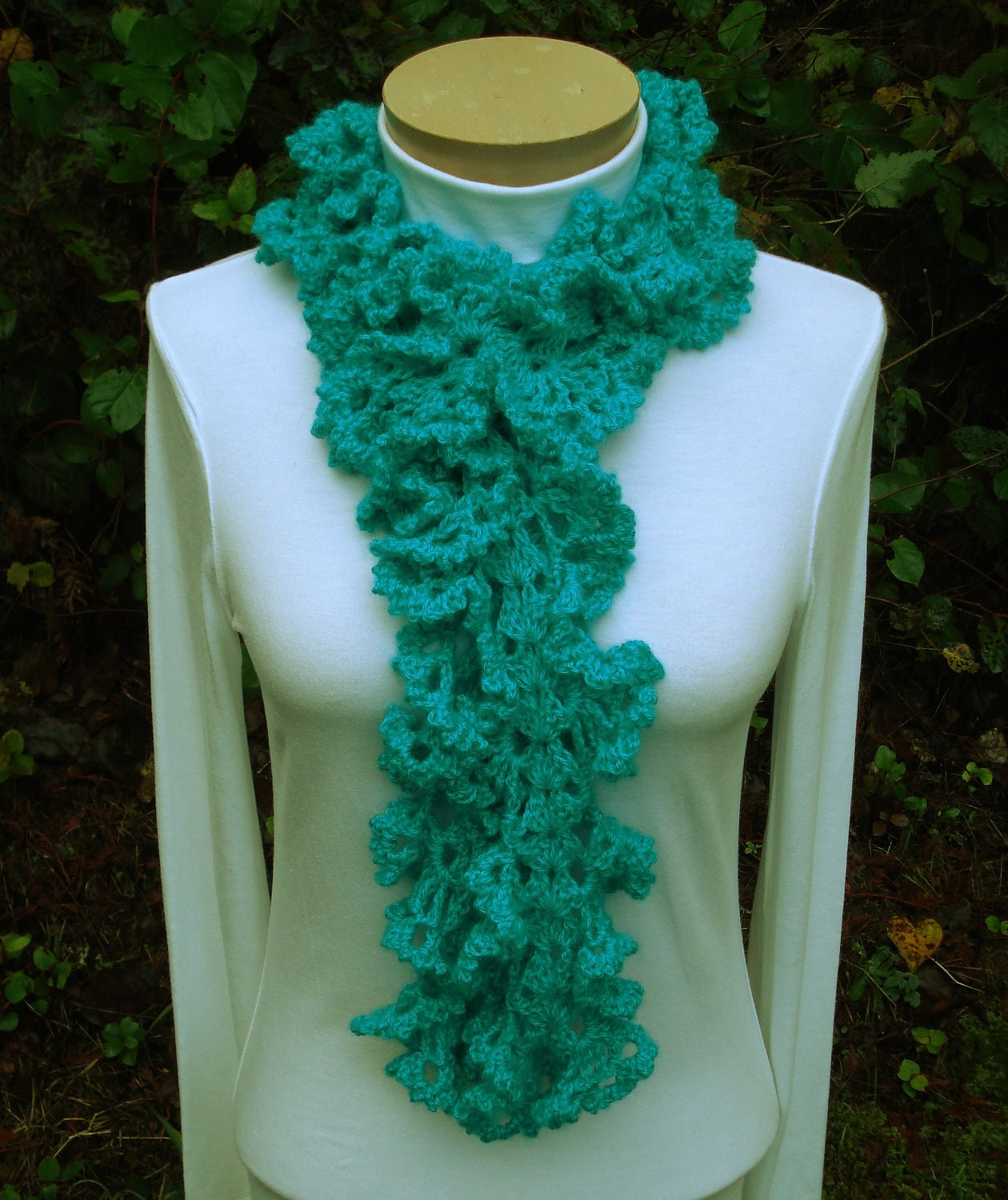Crochet Patterns Ruffle Scarf : Crochet Pattern PDF Ruffled Lace Scarf PA-132 by stellardreams