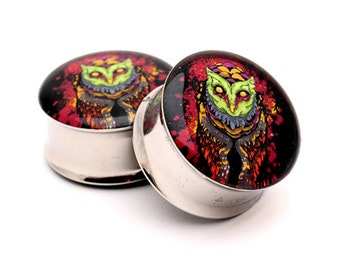 Reaper Owl Picture Plugs gauges - 16g, 14g, 12g, 10g, 8g, 6g, 4g, 2g, 0g, 00g, 1/2, 9/16, 5/8, 3/4, 7/8, 1 inch