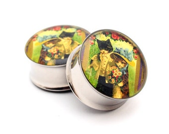 Vintage Cats Picture Plugs gauges - 1 1/8, 1 1/4, 1 3/8, 1 1/2 inch