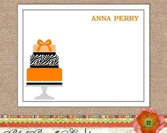 Note Cards -Notecards Personalized Stationery Folded Set of 10- Orange and Zebra Print Cake  Great Gift , Stocking Stuffer, or Wedding Card