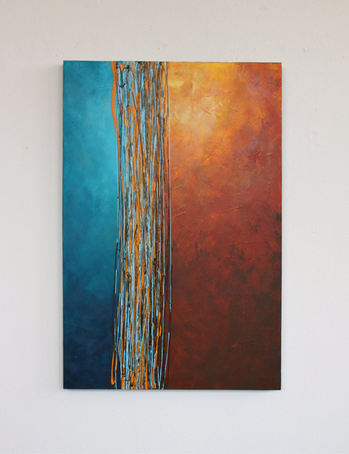 Intersection blue turquoise orange yellow rust brown original for Moderne kunstdrucke auf leinwand