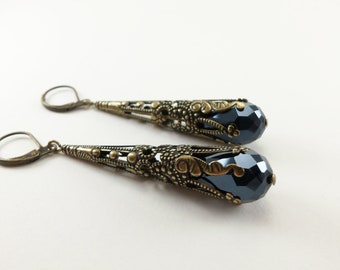 Black Earrings Brass Filigree Leverback Teardrop Earrings Victorian Jewelry