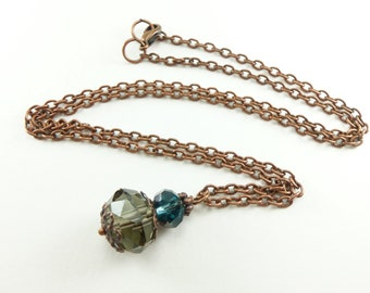 Smoky Gray Blue Copper Necklace Beaded Glass Necklace Antiqued Copper Jewelry