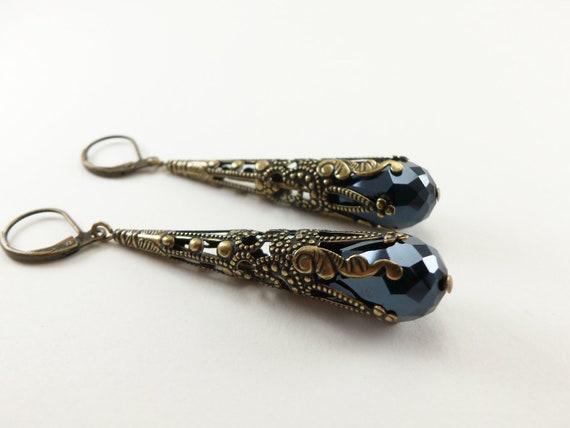 Black Earrings Brass Filigree Leverback Teardrop Earrings Victorian Jewelry