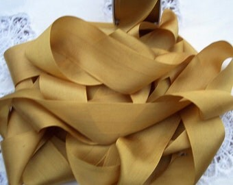 Pure Silk Ribbon  Gold Color 1 1/2 inch  36mm wide 5 yards~ SALE~