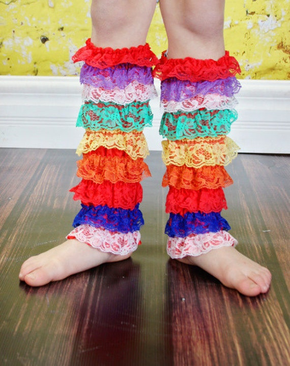 SAMPLE Sale.Big Girl Lace leg warmers, color Rainbow  suggested age 5-12 years