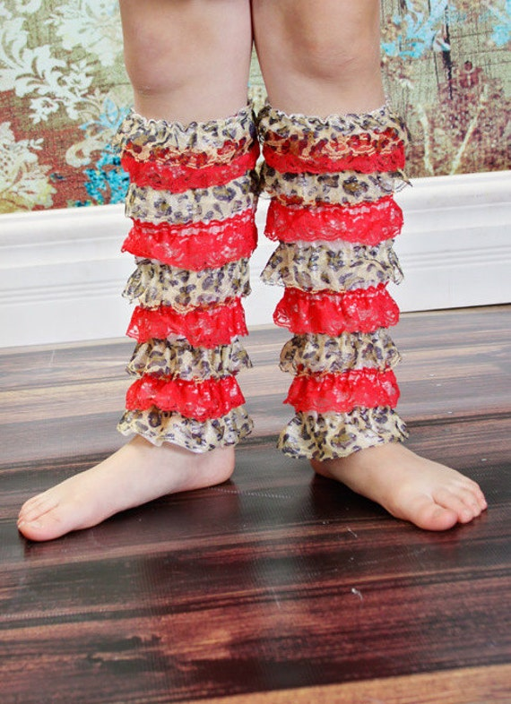 Anniversary Sale. SAMPLE sale .Big Girl Lace leg warmers, color cheetah/red suggested age 5-12 years