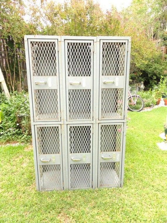 Vintage Industrial Metal Lockers 6 Doors Steel Gray Back To