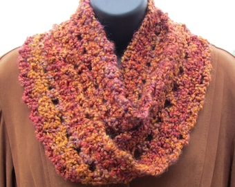 Handmade Copper Fire Eternity Scarf (Circle, Snood, Infinity Scarf) Washable and Dryable
