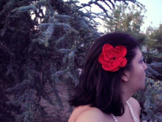 red ruby garnet rose blossom wedding flower snap clip