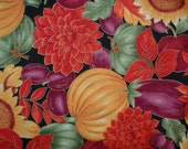 "Cotton Fabric, 1 yard plus 26"" x 39"" Remnant Piece, Thanksgiving Pumpkins, Holidays, Fall, Flowers, Fruit"
