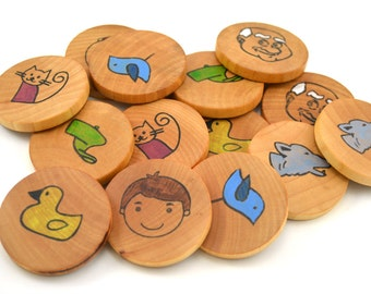 Waldorf Wooden Memory Game - Peter and the Wolf