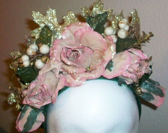 Josephine - lush dusty pink and gold floral headpiece fairy crown