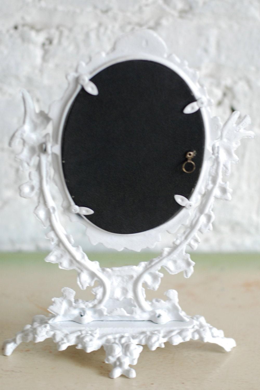 Antique Ornate Metal Pedestal Mirror Stand Alone Frame