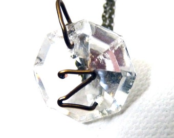 Letter z Crystal Initial Necklace- Bronze Copper - small- Upcycled antique chandelier prism pendant- Reclaimed Beauty