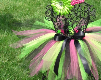 Girls Rockstar Costume- Baby Rockstar tutu- Lime Green tutu, Hot pink tutu, Black tutu- Funky Rockstar Tutu- 80s Punk Costume-- Neon Tutu